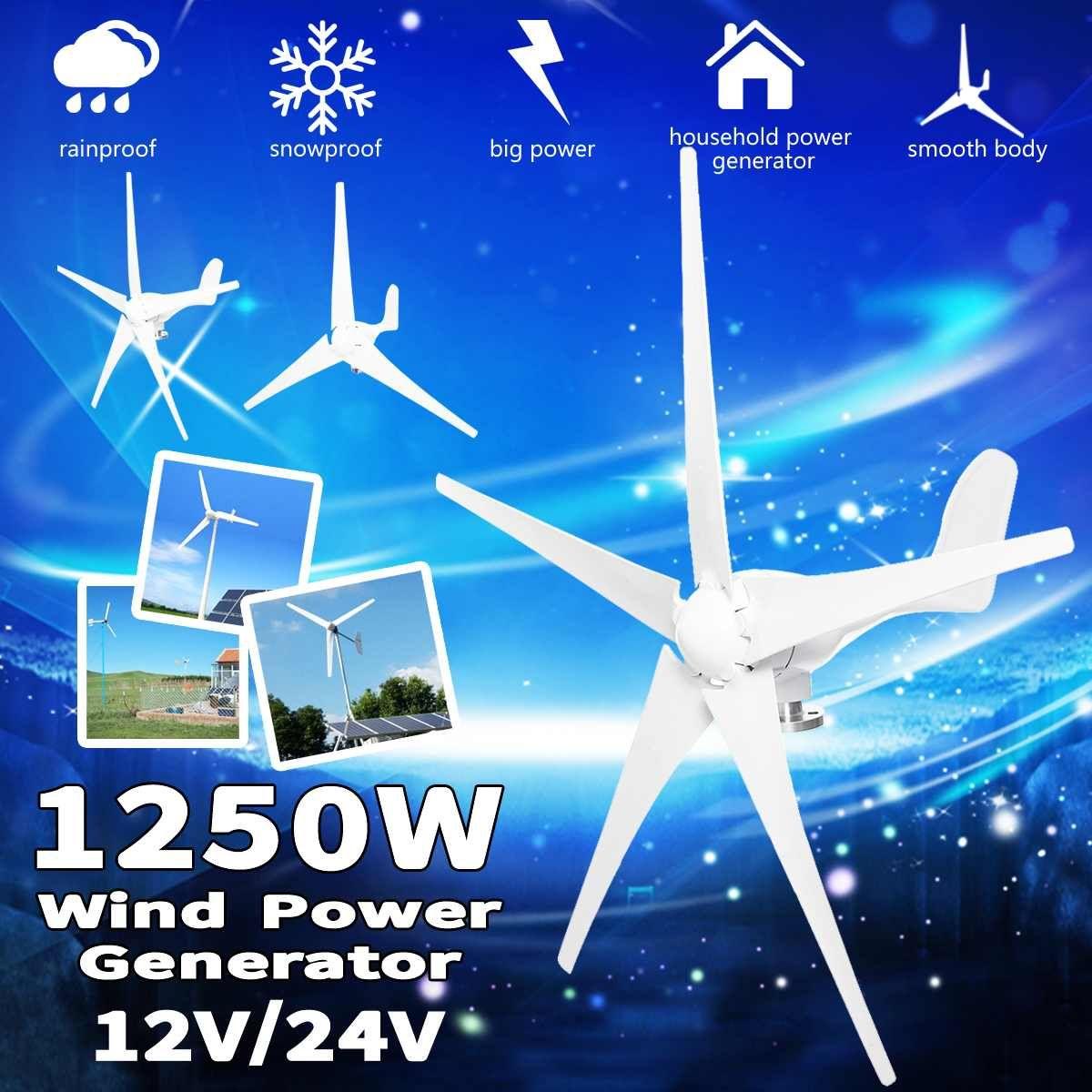 1250 W Wind Power Turbinen Generator 12 V 24 V 3/5 Wind Klingen Option Mit Wasserdichte Laderegler Fit für hause Oder Camping