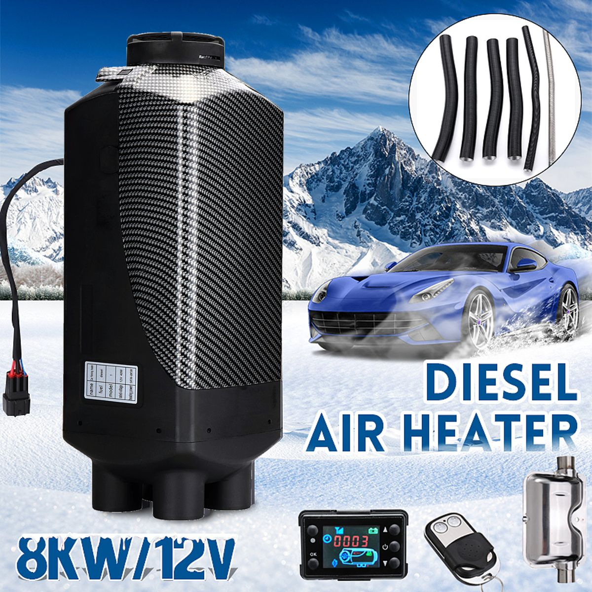 Car Heater 12V 8KW Parking Air Diesels Heater LCD Monitor 4 Hole with Remote Control + Silencer For Motorhome RV Trucks Bus Boat