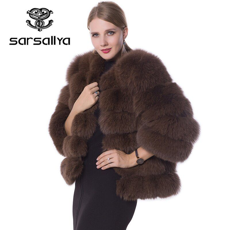 SARSALLYA real fur fox fur coat women length 90cm natural fur coats fox fur jackets vest mink
