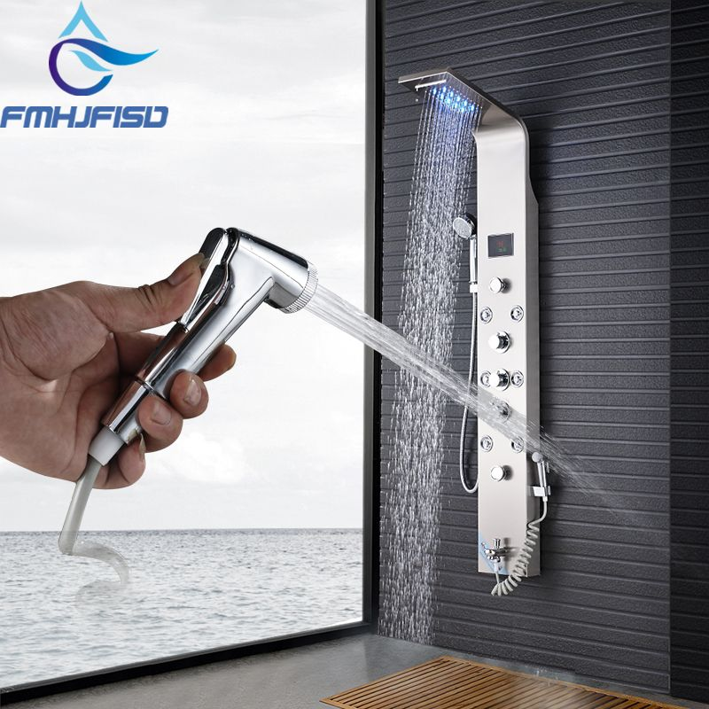 Bidet Faucets Bathroom Shower Faucets Digital Display Bath Shower Panel Hot and Cold Water Tower Shower Column Body SPA Jets