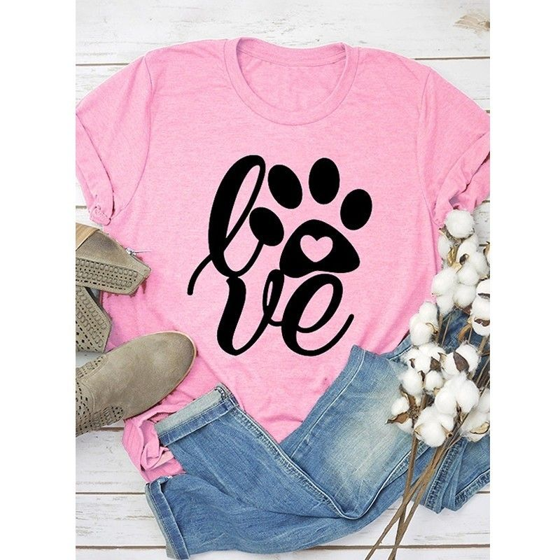 Arrival Love Letters Print T-Shirt For Women Short Sleeve Cotton Tshirt T-Shirt Women Female Tops Off The Shoulder Funny Plus