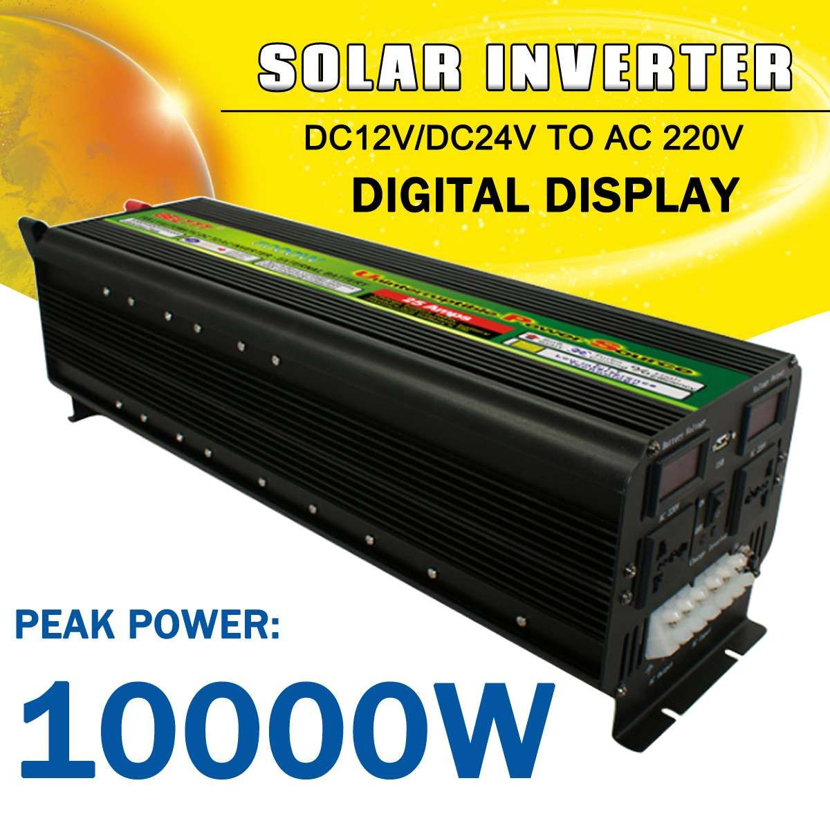 Solar Power Inverter 10000 W Max DC 12 V/24 V zu AC 220 V LCD Display Modifizierte Sinus welle Konverter Auto Adapter Ladung für Home Auto