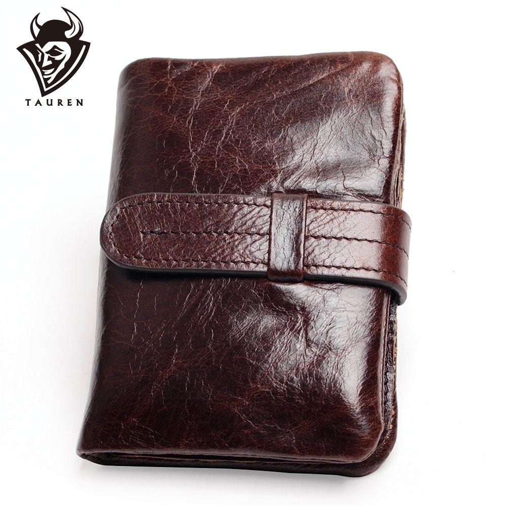 Luxe Vintage décontracté 100% Réel Véritable de Vache Huile-Cire Cuir Hommes Court portefeuille pliant Portefeuilles Bourse porte-monnaie pour homme Zipper