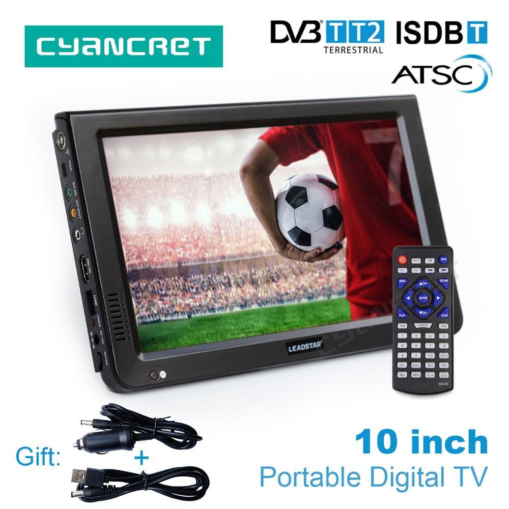 LEADSTAR 10 inch HD Portable TV DVB-T2 ATSC ISDB-T Digital and Analog mini small Car Television Support USB SD Card MP4 AC3