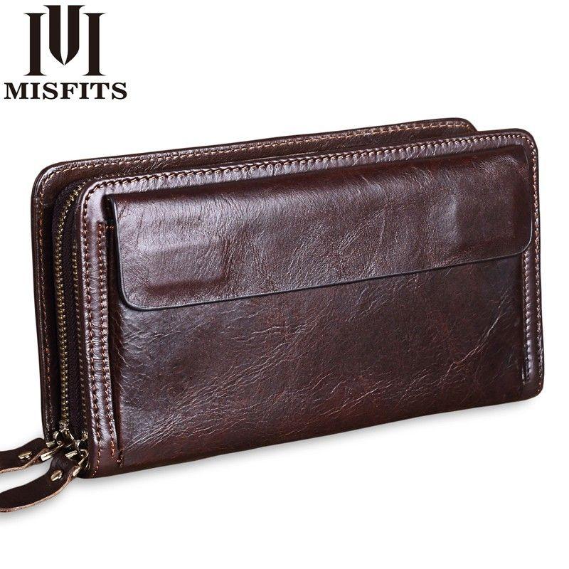 MISFITS Cowhide Men Clutch Wallets Genuine Leather Long Purses Business Large Capacity Wallet Double Zipper Phone Bag For Male