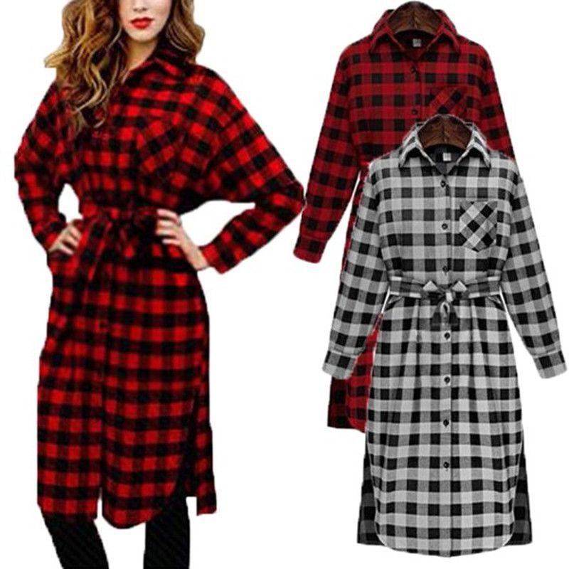 Celmia Women Vintage Check Plaid Print Shirt Dress 2018 Spring Autumn Long Sleeve Lapel Casual Loose Knee-Length Flannel Vestido