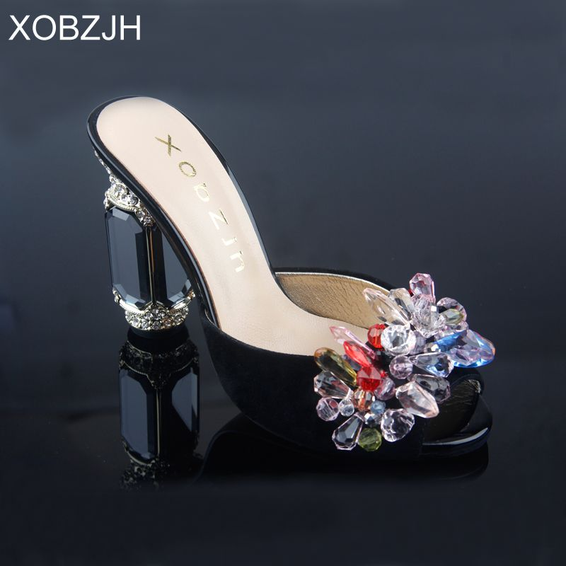 Frauen Sandalen Schuhe 2019 Luxus Echtes Leder High Heels Damen Handgemacht Sicken Hochzeit Schuhe Frau Schwarz Offene spitze Plus Größe