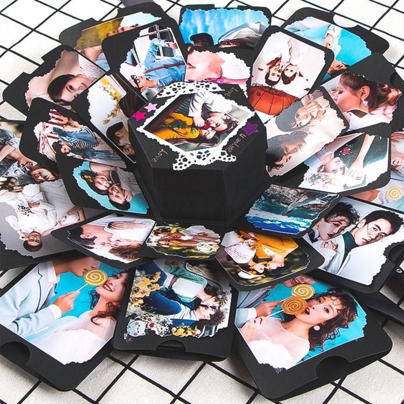 11 couleurs Surprise fête amour Explosion boîte cadeau Explosion pour anniversaire Scrapbook bricolage Photo Album cadeau d'anniversaire 15x15x15 cm