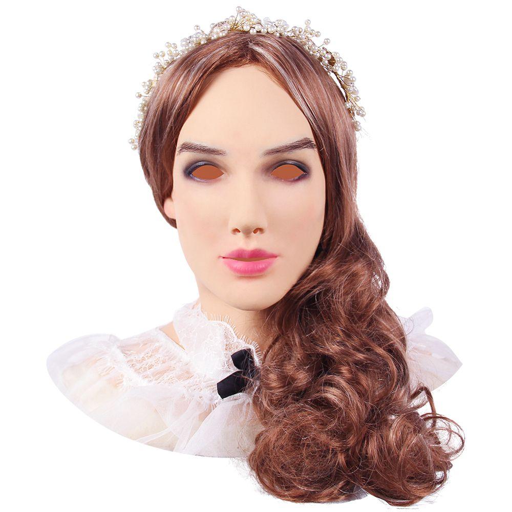 KOOMIHO Weiche Silikon Realistische Weibliche Kopf Crossdresser Maske Handgemachte Make-Up Transgender Maske Halloween Cosplay Maske 3G