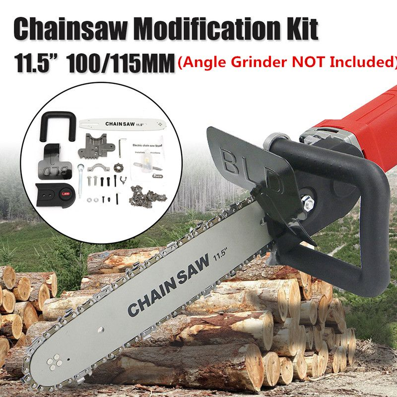 11.5 Inch Electric Chain Saw Bracket Set For 100mm /115mm Angle Grinder DIY Chainsaw Guide Bar Transfer Conversion Head