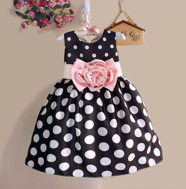 Offre Spéciale De Noël Super Fleur filles robes pour la partie et de mariage Dot imprimer Princesse Enfants Robe De Mode Enfants de Vêtements