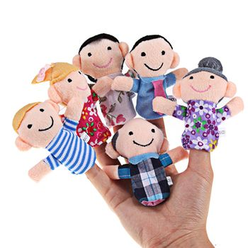 6 pcs/lot Finger Family Puppets Set Mini Plush Baby Toy Boys Girls Finger Puppets Educational Story Hand Puppet Cloth Doll Toys
