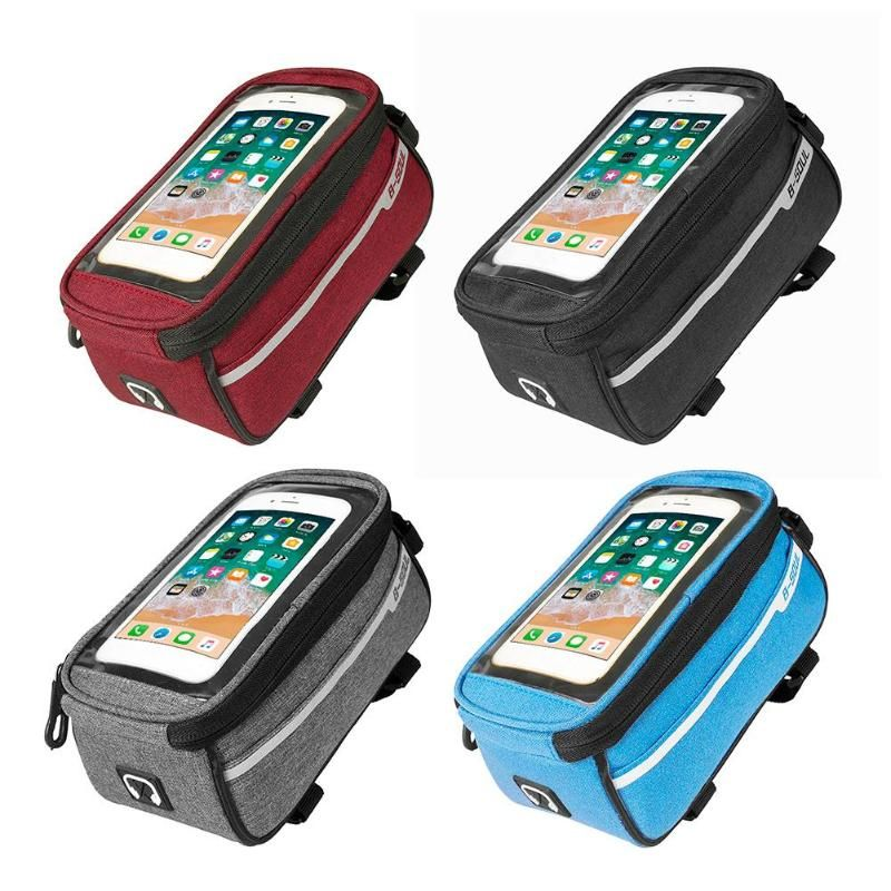 B-SOUL Waterproof MTB Road Bike Front Tube Bag 6inch Phone Touch Screen Saddle Mobile Phone With Headphone hole Bike Accessories