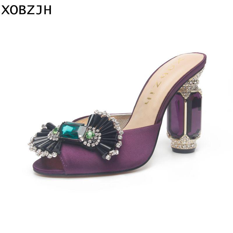 Sommer Sandalen frauen Schuhe 2019 Luxus Strass Offene spitze Hochzeit Schuhe Damen Slip Auf High Heel Lila Sandalen Schuhe Frau