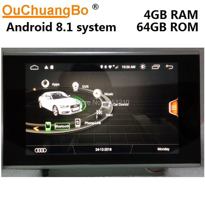 Ouchuangbo Android 8.1 radio audio player recorder für A7 A6 C7 2012-2016 mit 8,4 inch gps navigation multimedia 4 GB + 64 GB