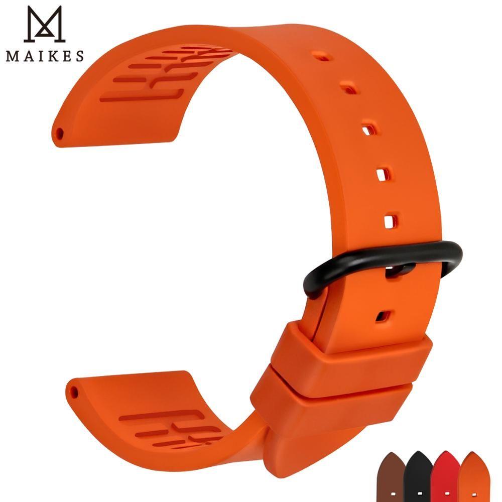 MAIKES qualité fluororubber bracelets de montre 20mm 22mm 24mm Orange caoutchouc montre bracelet bande montre accessoires pour sports plongée montres