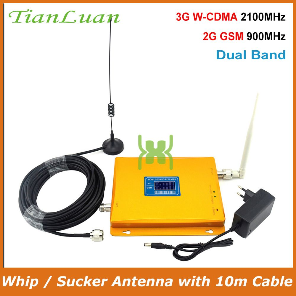 TianLuan LCD Display W-CDMA UMTS 2100MHz GSM 900Mhz Mobile Phone Signal Booster 2G 3G Signal Repeater with Whip / Sucker Antenna