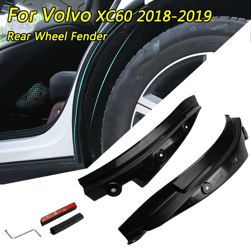 1 paar PP Hinterrad Kotflügel Fender Flare Für Volvo XC60 2018-2019 Mud Splash Guards Auto Rad Bögen schützen Schwarz