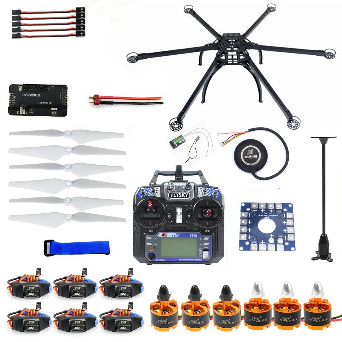 Sechs-achse Hexacopter Unmontiert GPS Drone Kit mit Flysky FS-i6 6CH 2,4g TX & RX APM 2,8 Multicopter flight Controller F10513-F