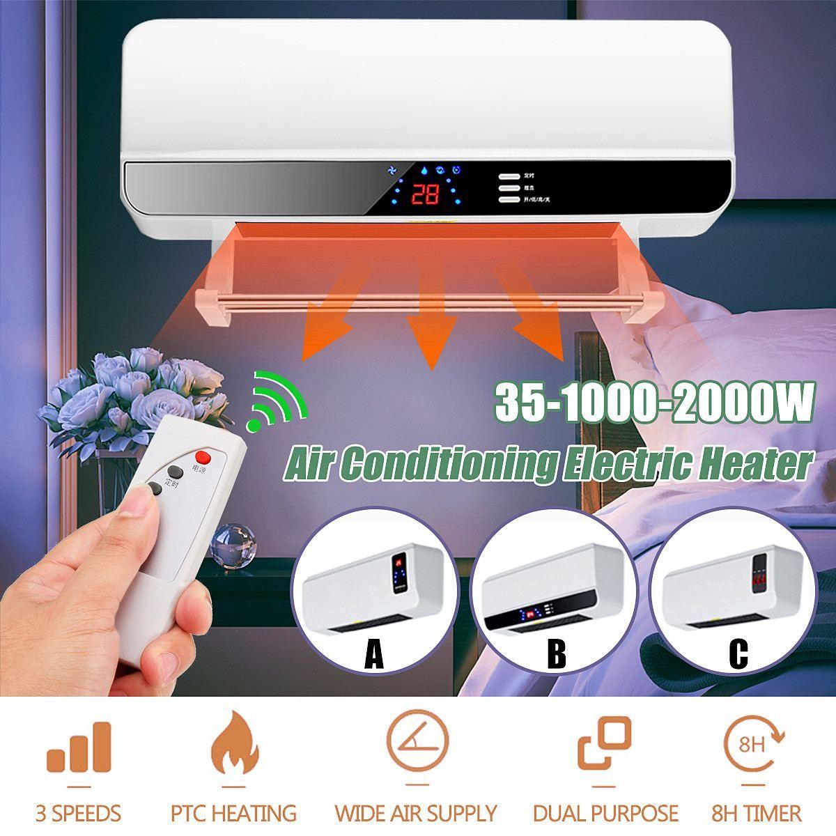 220 v 2000 watt Wand-montiert Fernbedienung Heizung Hause Energiesparende Heizung Heizung Fan Bad Klimaanlage Heißer luft Heizung