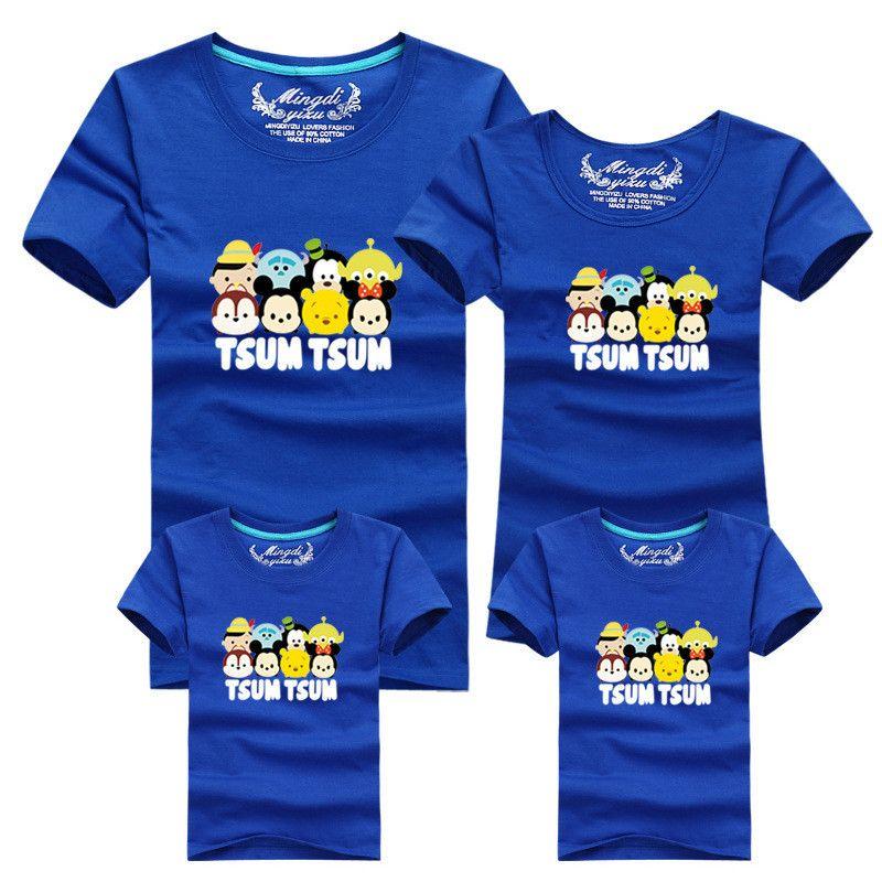 1 pièces mode correspondant mère fille vêtements T-shirt 12 couleurs pour coréen famille vêtements mère père fille fils vêtements