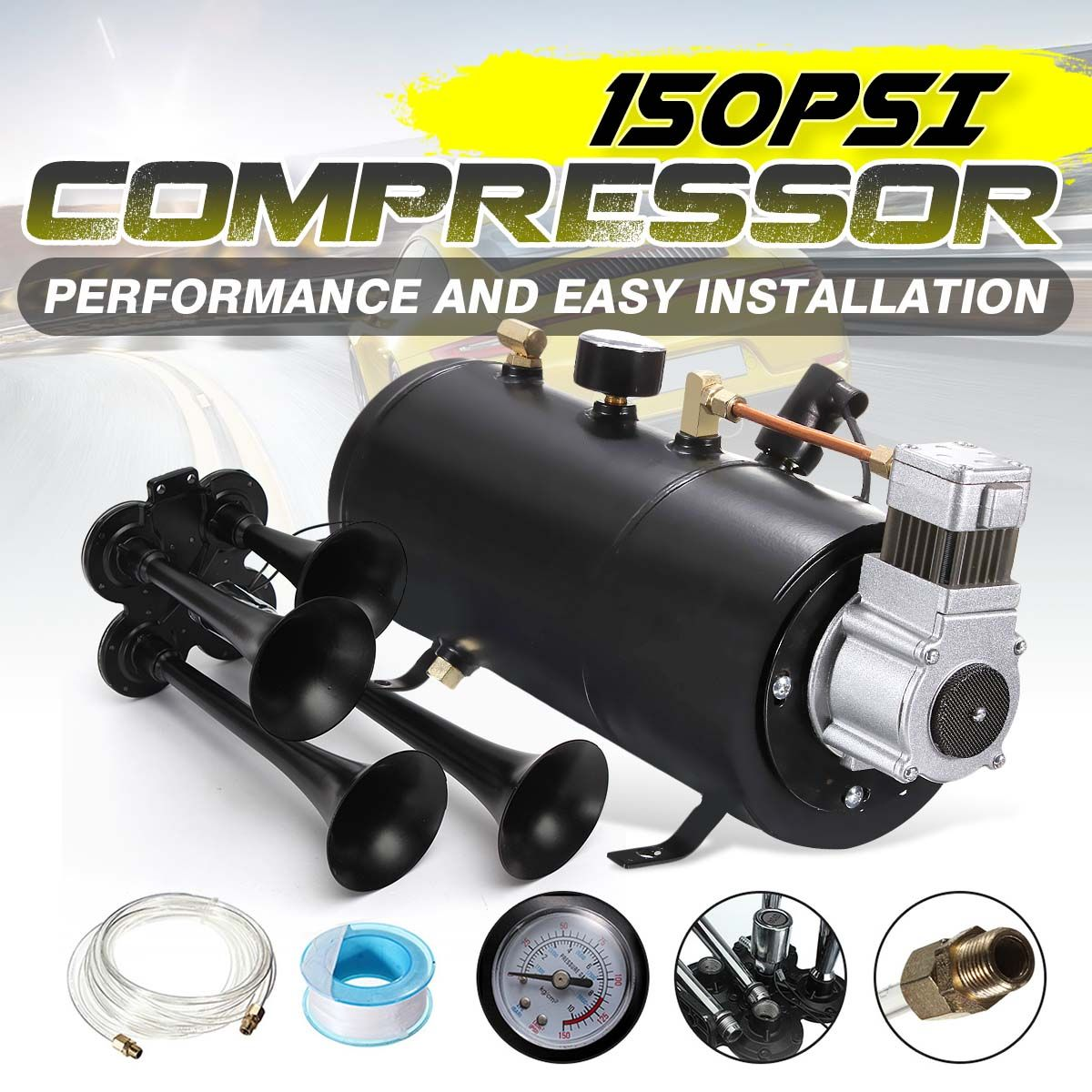 Schwarz 150PSI Luft Kompressor 3 Liter und Druck Schalter Schlauch Kits Zug Lkw-anhänger 12 V mit 4-Trompete zug Air Horn