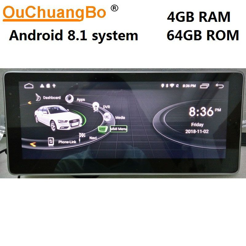 Ouchuangbo Android 8.1 gps navigation for Q5 A5 RS5 A4 b8 2009-2016 with 10.25 inch 1080P video 8 core 4GB+64GB Right driving