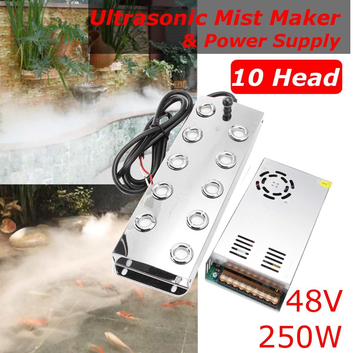 Neueste 10 Kopf 5000 ML/H Ultraschall Nebel Maker Fogger Edelstahl Luftbefeuchter Gewächshaus Aeromist Hydrokultur + Transformator