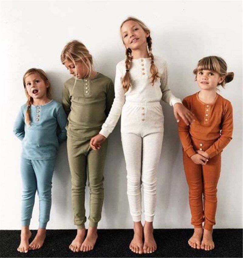 2019 2PCS/set Toddler Kids Nightgown Children Girl Boy Infant Casual Sleepwear Robe Nightwear Home Thermal Pajama Sets Autumn