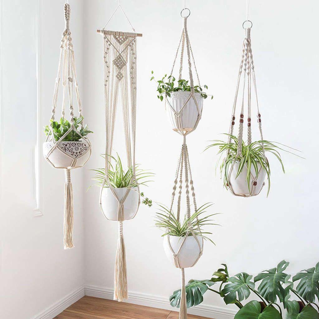 4 Pack Macrame Plant Hangers Creative Designs Handmade Indoor Wall Hanging Planter Plant Holder Modern Boho Home Decoration