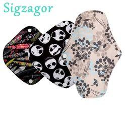 [Sigzagor]1 XS,S,Long Panty Liner Cloth Menstrual Pad,Bamboo Charcoal,Mama Cloth Menstrual Sanitary Reusable Washable Mix Size