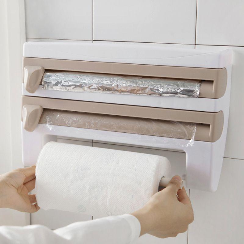 Organisateur de cuisine porte-serviettes en papier réfrigérateur Film alimentaire coupe stockage Rack Wrap Cutter étain feuille étagère en plastique porte-bagages