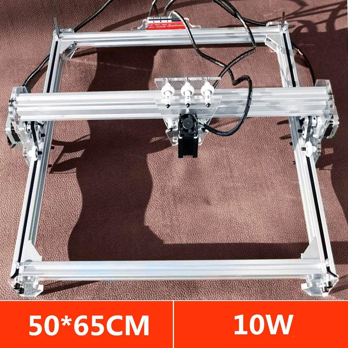 Bereich 50*65 cm Mini Laser Gravur Schneiden Maschine Drucker DC 12 v Holz Cutter + 10 watt Blau laser Kopf Power Einstellen DIY Desktop Kit