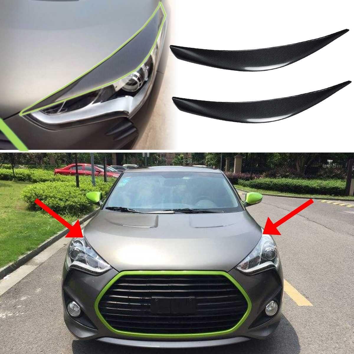 2 stücke Front Scheinwerfer Stirn Trim für Hyundai Veloster 2011-2016 Carbon Faser Auto Kopf Licht Abdeckung Aufkleber Rahmen protector