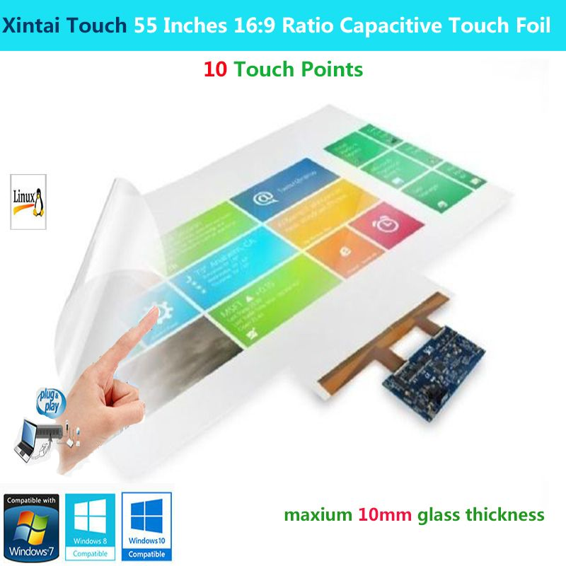 Xintai Touch 55 Zoll 16:9 Verhältnis 10 Touch Punkte Interaktive Kapazitive Multi Touch Folie Film Plug & Play