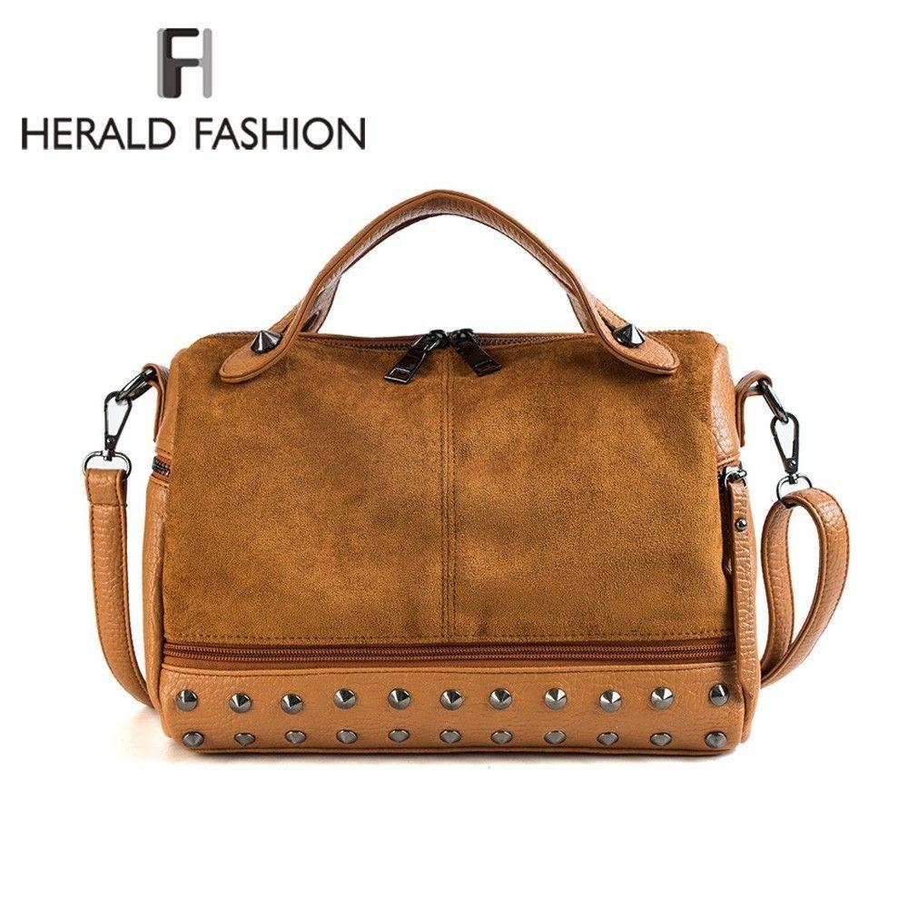 Herald Mode Femmes Haut-poignée de sacs avec Rivets qualité supérieure En Cuir Femme Sac à bandoulière Grand Vintage Moto fourre-tout Sac