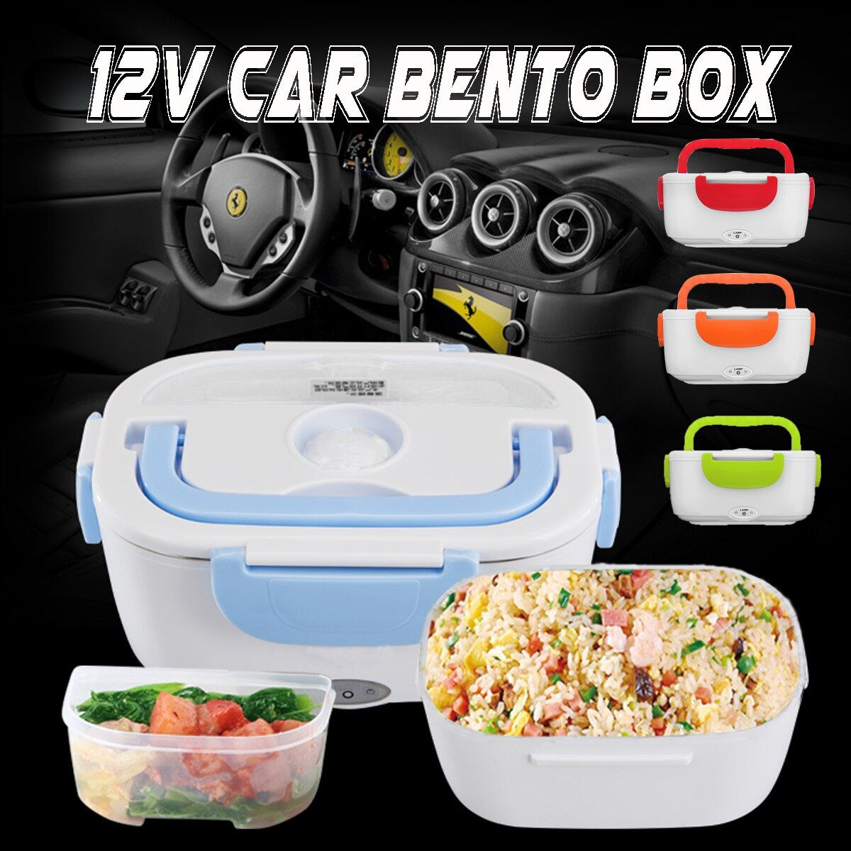 12-24V Portable Electric Heated Lunch Box Car Hot Food Warmer Storage Bento Box for Travel School Office Home Dinnerware 2018