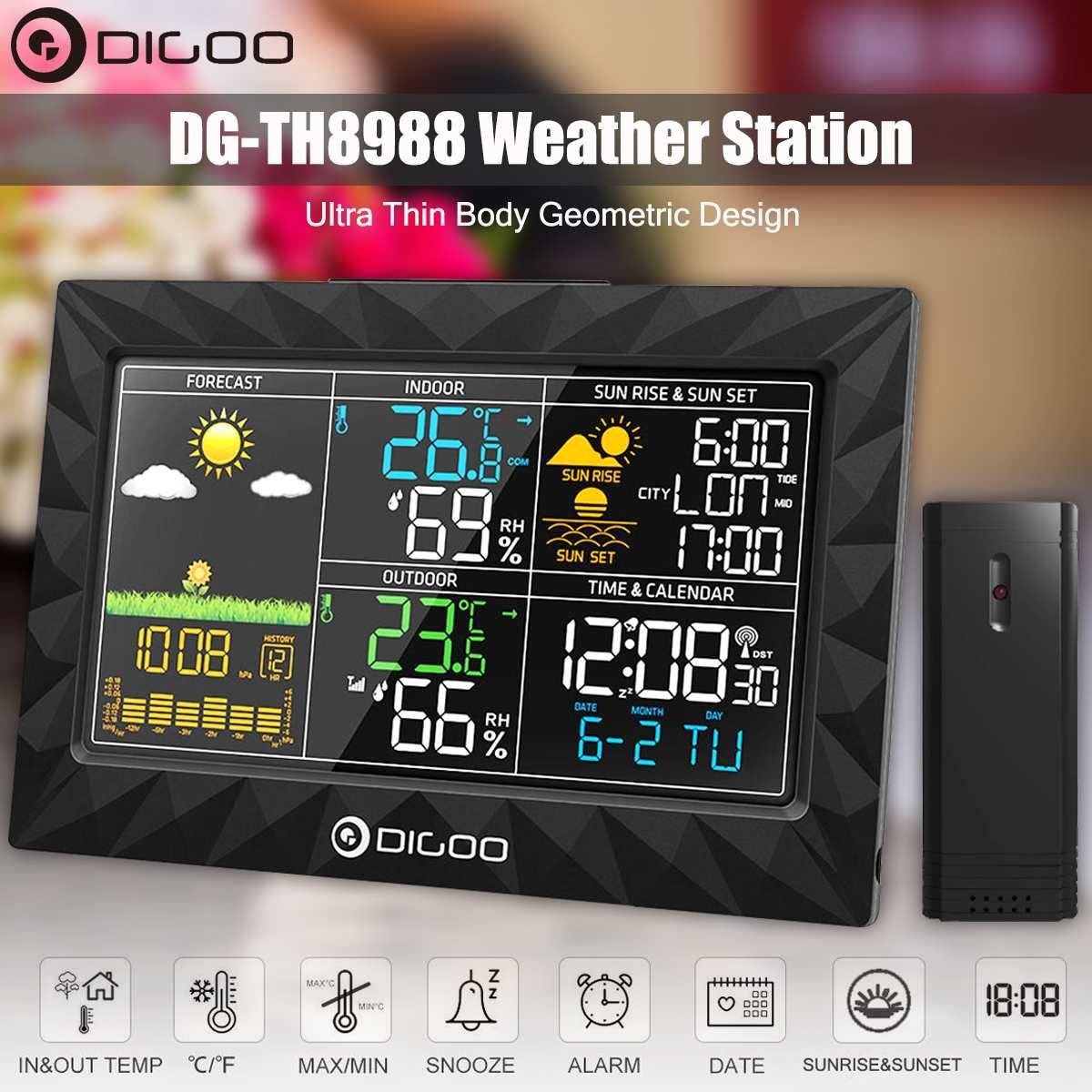 DIGOO DG-TH8988 Color Weather Station + Outdoor Remote Sensor Thermometer Hygrometer Snooze Clock Sunrise Sunset Display