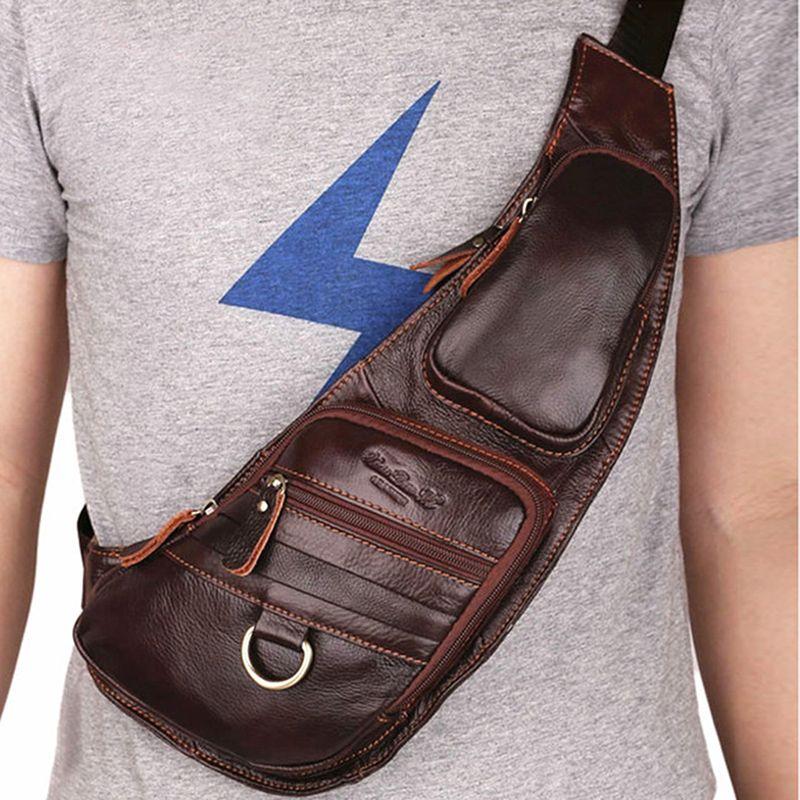 Haute qualité hommes en cuir véritable 100% véritable peau de vache rétro Messenger épaule sac à bandoulière Vintage fronde poitrine jour Pack demi-lune