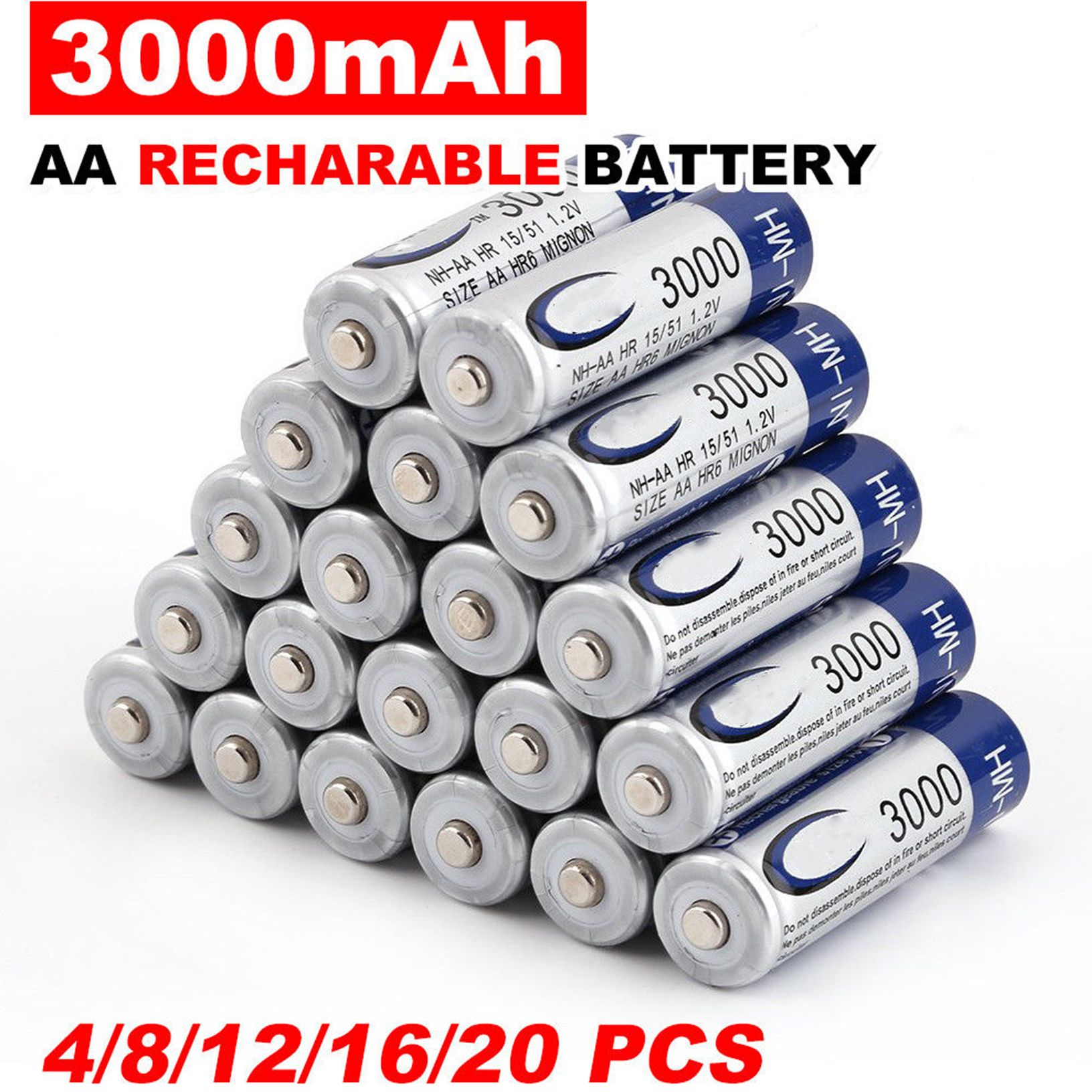 4-50 pcs 3000 mAh AA 2A NI-MH 1.2 V batterie Rechargeable Recharge batterie Rechargeable Ni-MH pré-chargée pour jouets Microphone caméra