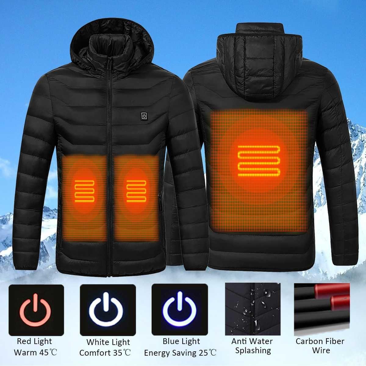 NEUE Universal Winter Elektrische Heizung Mit Kapuze Mantel Jacke Temperatur Control USB Bauch Zurück Intelligente Sicherheit Weste Kleidung