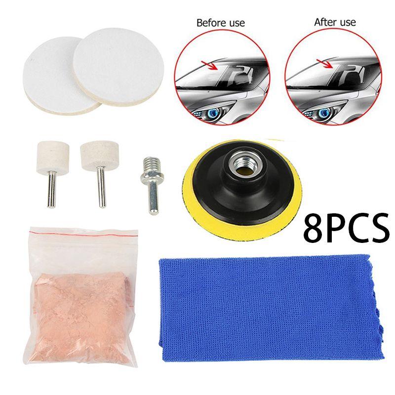 8 pièces/5 pièces Kit de polissage de pare-brise de voiture pratique Auto vitres de voiture dissolvant de rayures Kit de polissage de verre outil de réparation de rayures