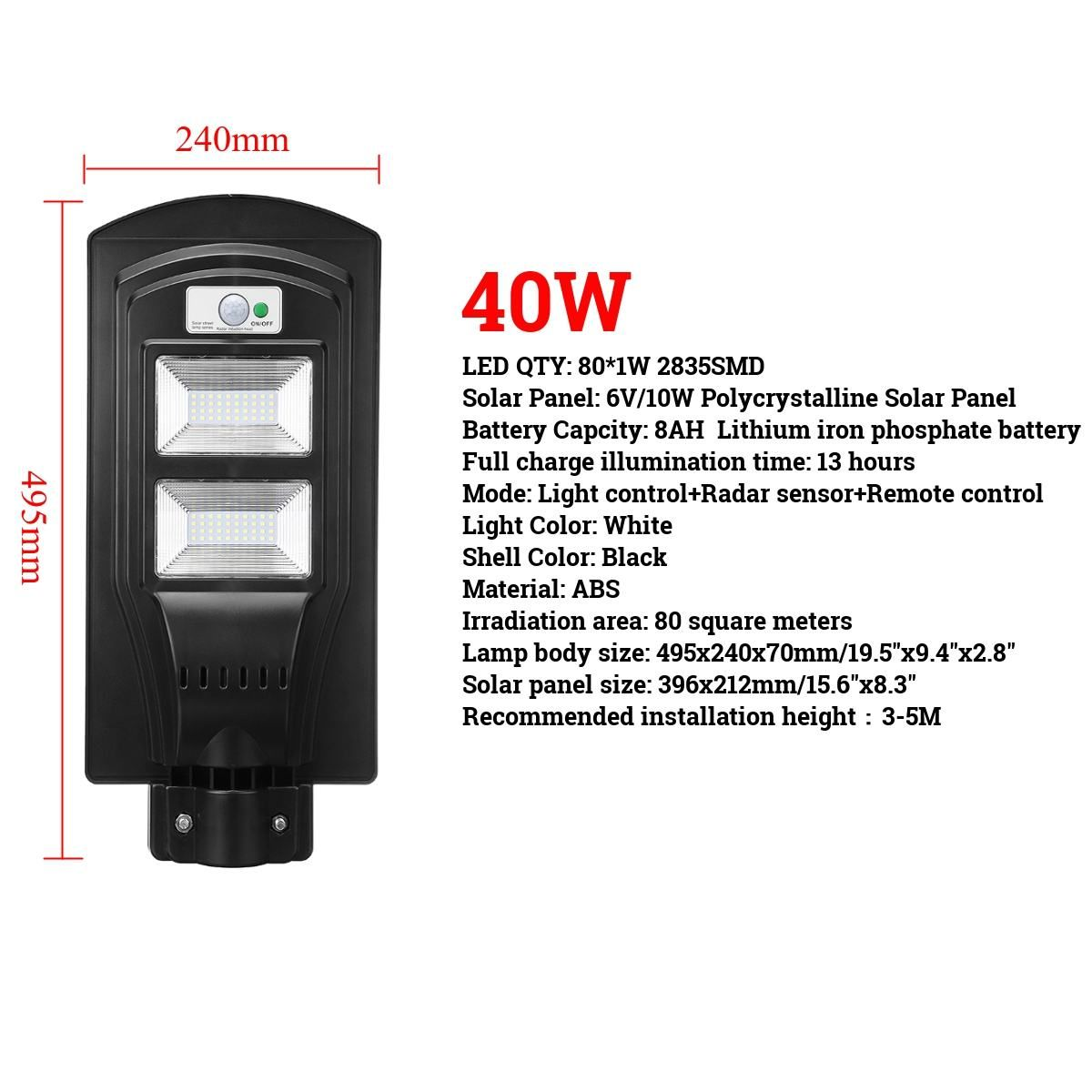 40/60/90W LED Wall Lamp IP65 Solar Street Light Radar motion 2 In 1 Constantly bright & Induction Solar Sensor Remote Control
