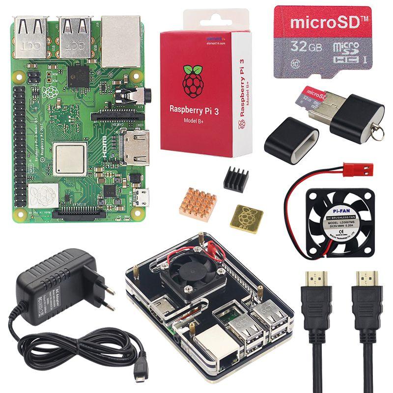 Raspberry Pi 3 Modèle B + Starter Kit + 6 Couche Acrylique Cas + 16 32 GB SD Carte + dissipateur de chaleur + Ventilateur + 3A Puissance Adaptateur + Câble HDMI