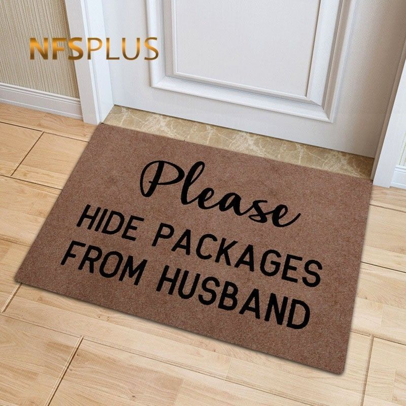 Funny Front Door Mat Polyester Please Hide Packages From Husband Printed TPR Anti-Slip Floor Mat Carpet Entrance Doormat Rug