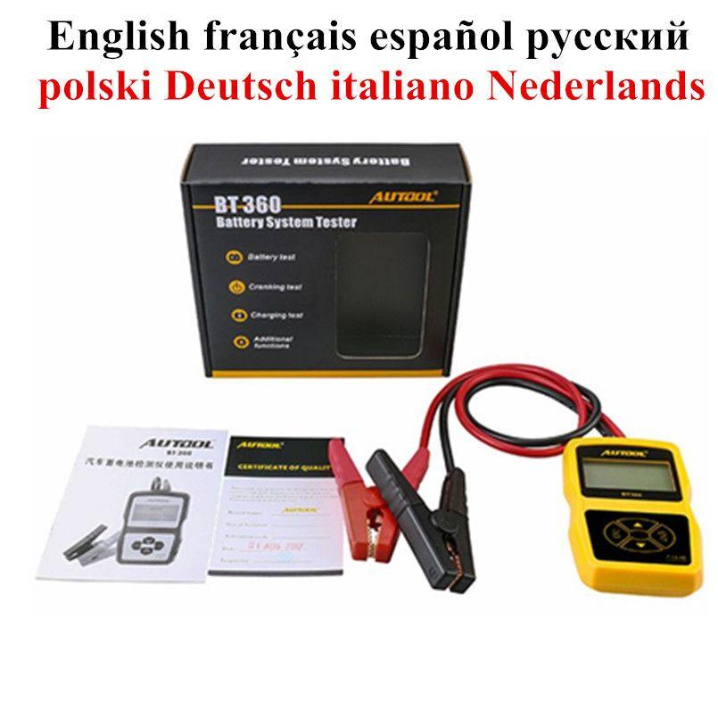 Original Auto Batterie Tester Autool Bt360 12v Auto Automotive Batterie Analyzer Multi-sprache Spanisch Russische Unterstützung 2000 En /cca