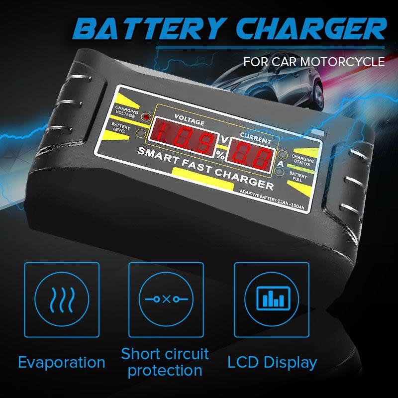 Full Automatic Car Charger 110V/220V To 12V 6A Battery Charger Digital Display Auto Smart Fast Charging for Car Motorcycle