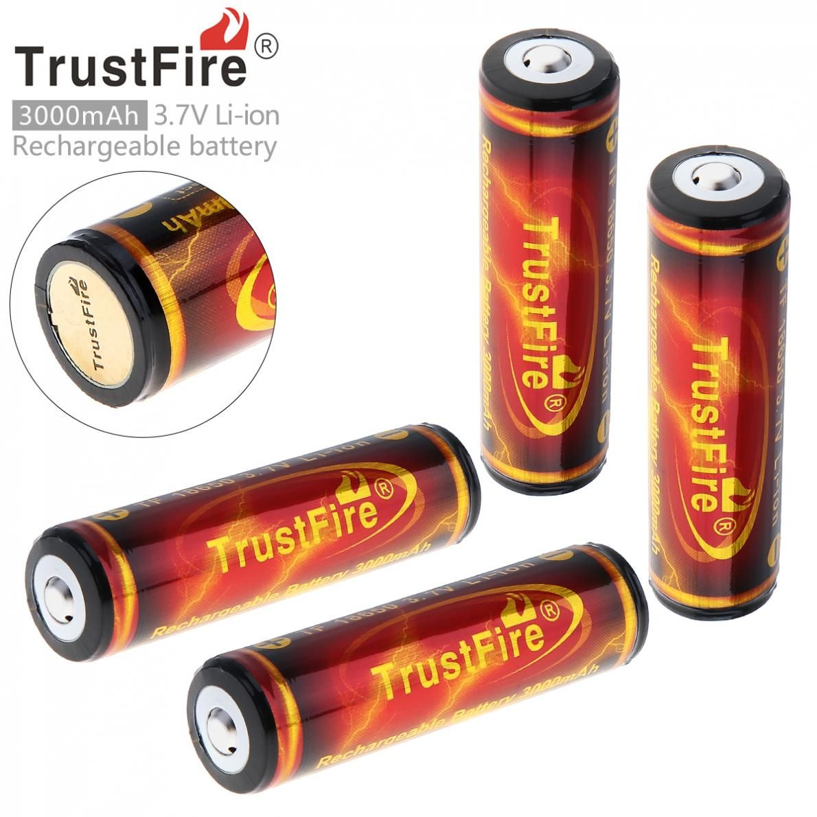 4 Pieces TrustFire Genuine <font><b>3000mAh</b></font> 18650 3.7V Li-ion Rechargeable Battery 18650 Battery Batteries with Protected PCB