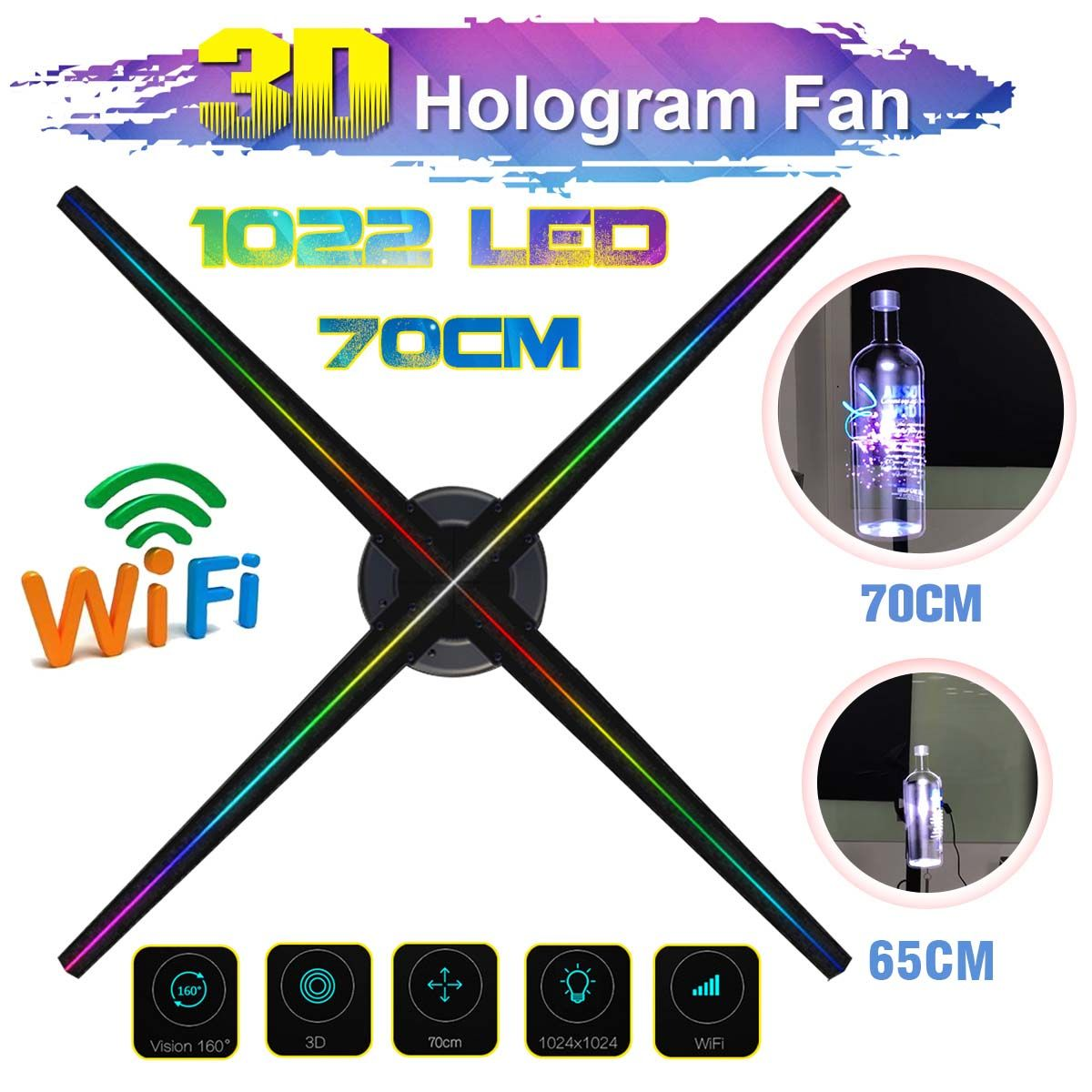 Verbesserte 70 cm Wifi 3D Holographische Projektor Fan Hologramm Player LED Video Display Fan Werbung Licht APP Control Vier Axil