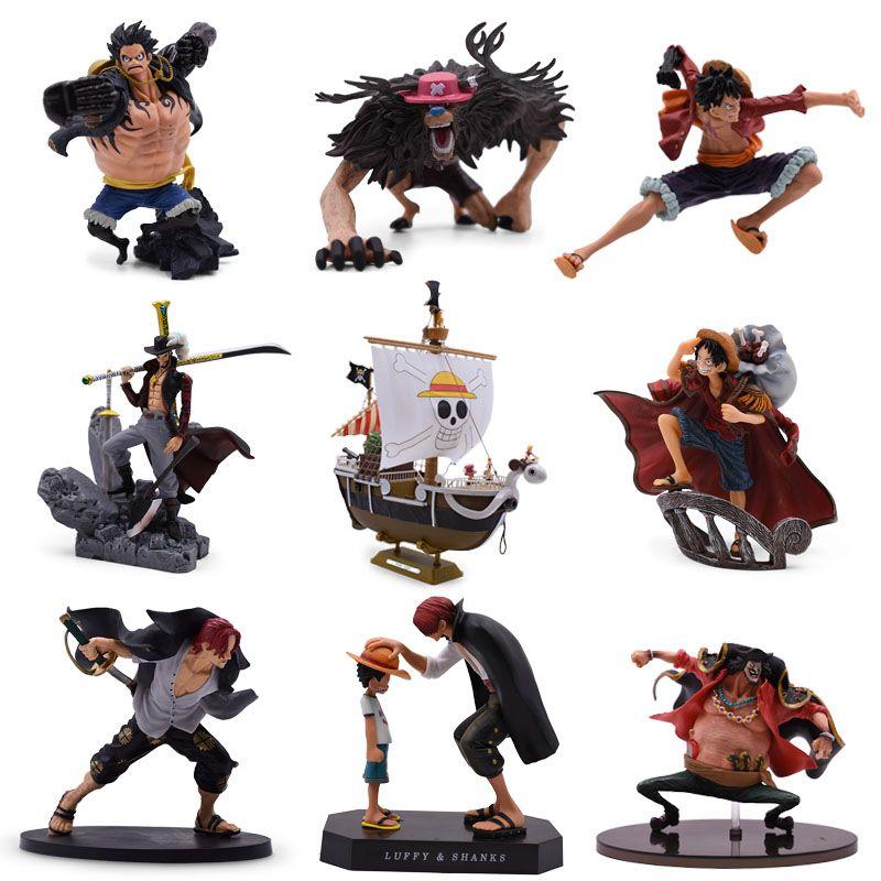9 Styles Anime une pièce Luffy Chopper Dracule Mihawk aller joyeux jarrets PVC figurine à collectionner modèle cadeau de noël jouet